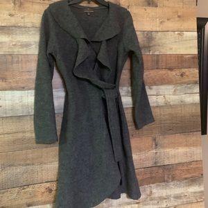 Fenn Wright Manson grey ruffle tie coat, small